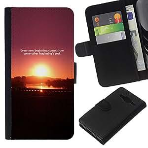KLONGSHOP // Tirón de la caja Cartera de cuero con ranuras para tarjetas - Sunset Cita Mensaje púrpura del ciruelo Negro - Samsung Galaxy Core Prime //