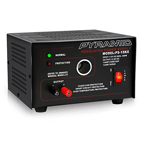 Price comparison product image Pyramid Bench Power Supply | AC-to-DC Power Converter | 10 Amp Power Supply with Car/Vehicle Plug Power Outlet (PS15K)