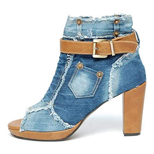 - EpicStep Women's Blue Peep Toe Chunky High Heel Denim Strappy Platform Ankle Booties 6.5 M US