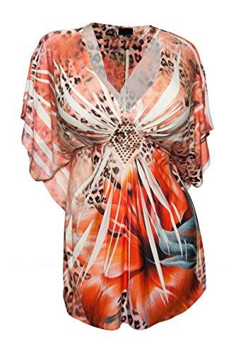 Floral Sublimation Print Top - eVogues Plus Size Low Cut V-Neck Slimming Floral Sublimation Print Top Orange - 1X