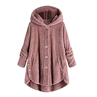 Fleece Coats for Women with Hood,Fashion Women Button Coat Fluffy Tail Tops Hooded Pullover Loose Sweater,Girls' Clothing,Pink,3XL