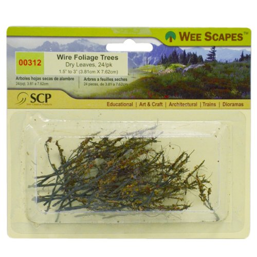 Wee Scapes Architectural Model Trees Wire Foliage Trees (dry leaves) 1 1/2 in. - 3 in. pack of 24 ()