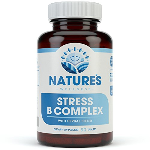 Vitamin B Complex Stress Relief | All Natural Anxiety Relief, Mood Enhancer and Stress Support Supplement | Stress B Complex with Herbal Extract Blend Plus Vitamin C, PABA, and Choline