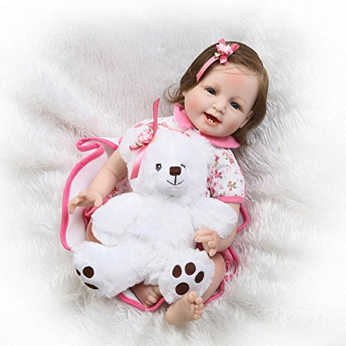 NPKDOLL Reborn Baby Doll Soft Simulation Silicone Vinyl 22inch 55cm Magnetic Mouth Lifelike Vivid Boy Girl Toy RD55C226WF
