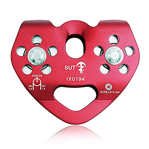 (NewDoar CE Certified 28KN Tandem Double Speed Pulley/Trolley for Climbing, Rescue Lifting )