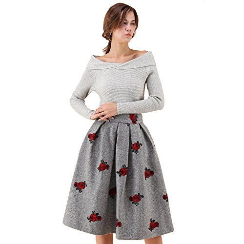 (Chicwish Women's Rose Blossom Grey Floral Embroidered A-Line Prom Midi Pleated Wool-Blend Skirt)
