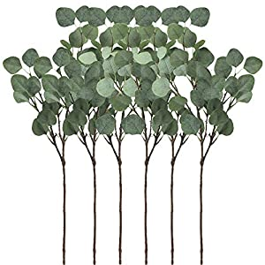"Supla 6 Pcs Artificial Silver Dollar Eucalyptus Leaf Spray in Green 25.5"" Tall Artificial Greenery Holiday Greens Christmas greenery 82"
