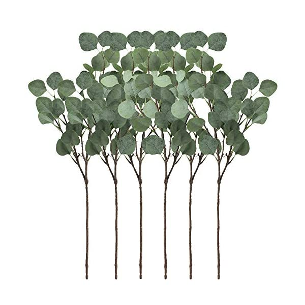 Supla 6 Pcs Artificial Silver Dollar Eucalyptus Leaf Spray in Green 25.5″ Tall Artificial Greenery Holiday Greens Christmas Greenery