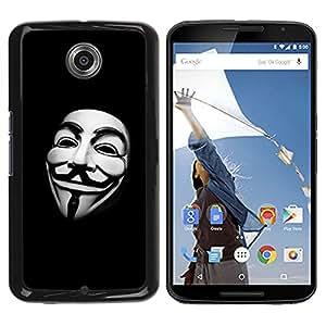 KOKO CASE / Motorola NEXUS 6 / X / Moto X Pro / enmascarar hombre blanco libertad código de hackers / Delgado Negro Plástico caso cubierta Shell Armor Funda Case Cover