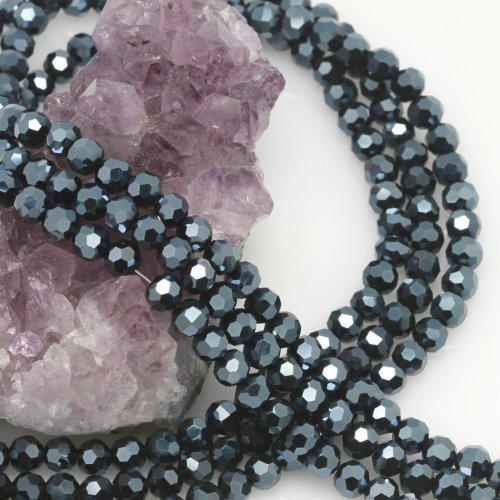 Round Chinese Beads Glass Crystal (100 Pcs Chinese Crystal Glass Loose Beads Faceted Round 6mm Loose Spacer Iolite Blue)