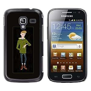 YOYOYO Smartphone Protección Defender Duro Negro Funda Imagen Diseño Carcasa Tapa Case Skin Cover Para Samsung Galaxy Ace 2 I8160 Ace II X S7560M - hombre fresco tipo boceto invierno inconformista