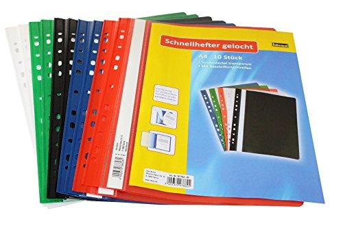 Idena 307862 - Schnellhefter A4 gelocht, aus Kunststoff, 10 Stück, 5 Farben, 2 x blau/grün/rot/weiß/schwarz