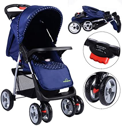 JAWKHUN23 Foldable Baby Kids Travel Stroller Newborn Infant Buggy Pushchair Child Blue