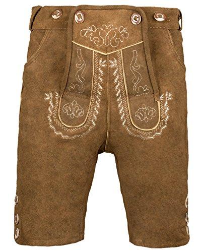 Herren Trachten Lederhose Kurz mit Trägern in verschiedenen Farben, Trachtenlederhose in Größe 46 bis 60 (52, Nougat)