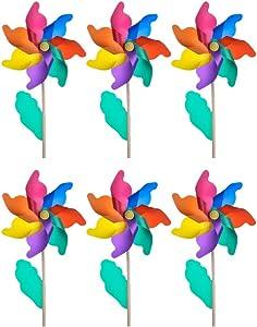 KABAKE 6Pcs Wooden Stick Pinwheels(Flower Ø 9.5