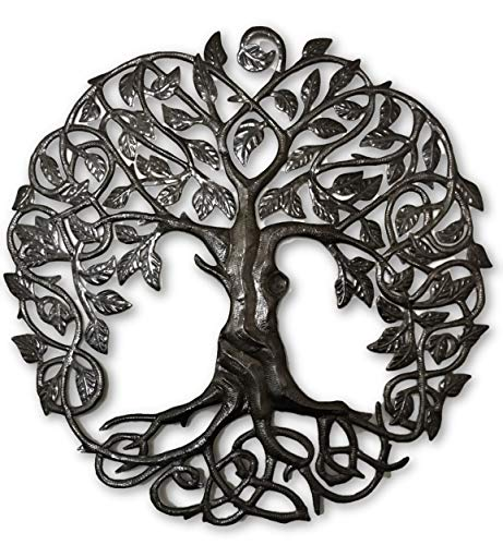 "Large Celtic Tree of Life, Large Outdoor Wall Art, Recycled Metal Haiti, 33"" X 33"""
