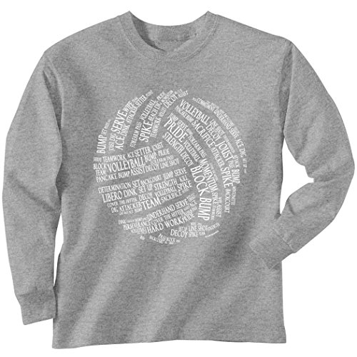 ChalkTalkSPORTS Premium Volleyball T-Shirt Long Sleeve | Volleyball Words | Adult X-Large | Sport Gray