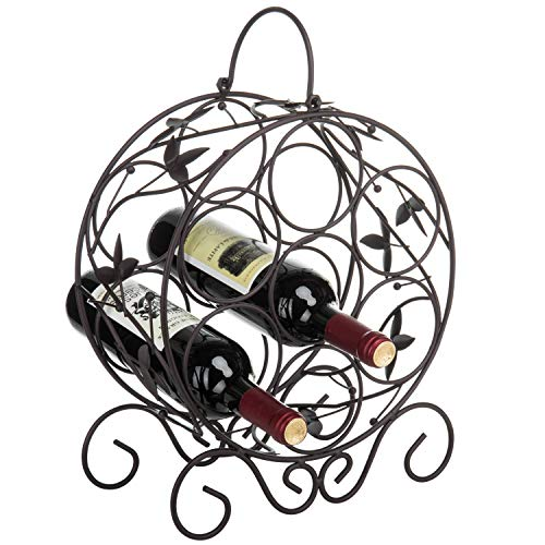 Elegant 7 Bottle Freestanding Countertop Metal Wine Rack/Espresso Brown Leaf Décor Wine Storage Holder