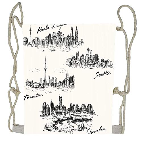 Cellcardphone Skyline Toronto Seattle Shenzhen Kuala Lumpur Hand Drawn Collection City Landmark Cityscape Pen Canada Un-faded Lightweight Durable Drawstring Bag Training Beautiful Drawstring Backpack