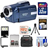 Vivitar DVR-508 HD Digital Video Camera Camcorder (Blue) 32GB Card + Case + LED Video Light + Tripod + Kit
