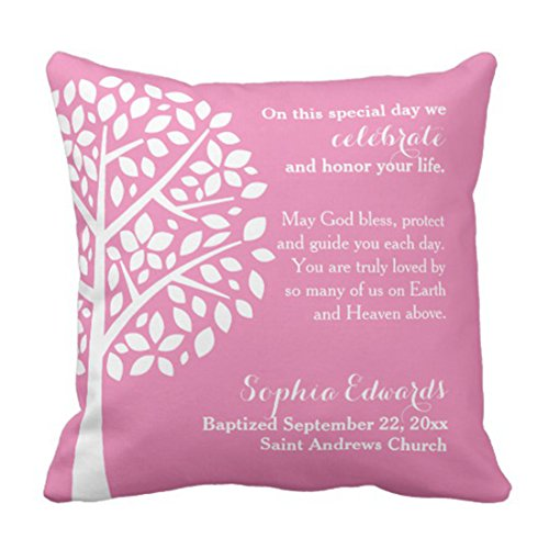 - Emvency Throw Pillow Cover Baby Pink Girls Baptism Christening Blessing Tree Decorative Pillow Case Home Decor Square 16 x 16 Inch Pillowcase