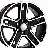 22x9 Fits GM Truck - Chevy Silverado Style Black w/Mach'd Face Rims, Hollander 5664 - SET