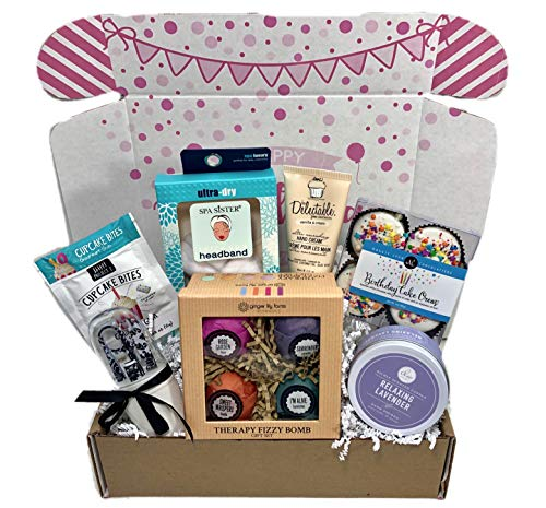 Happy Set Gift Birthday (Spa Bath Bomb Birthday Theme Gift Basket Box Her-Women, Mom, Aunt, Sister or Friend)