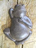 Lot Of 2 Cast Iron Brown Frogs Garden Statue Frog Pool Pond Lake Home Decor