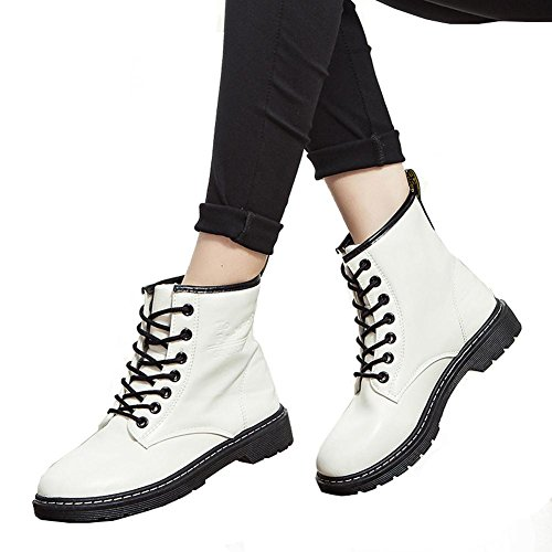 Women Martin Short Boots Locomotive Leather Flat Heel Warm Casual Shoelace Ankle Shoes WHITE-35 ojMJqN0TR