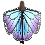 Anglewolf Women Butterfly Wings Shawl Scarves Ladies Nymph Pixie Poncho Costume Accessory Fabric Scarf Dress Cape Beautiful Soft Wrap Fairy Girls Dresses Capes Stoles Coat Adult Fancy(Blue E)