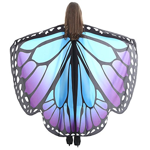 vermers Women Butterfly Wings Shawl Scarves Ladies Nymph Pixie Poncho Costume Accessory Shawl(Blue2) -
