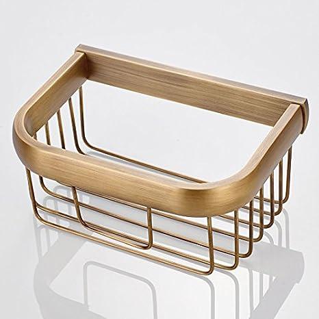 S-Senrohy Wall Mounted Solid Brass Bathroom Shelves Shower Shampoo Storage Shelf Monolayer Toilet Paper Basket Black