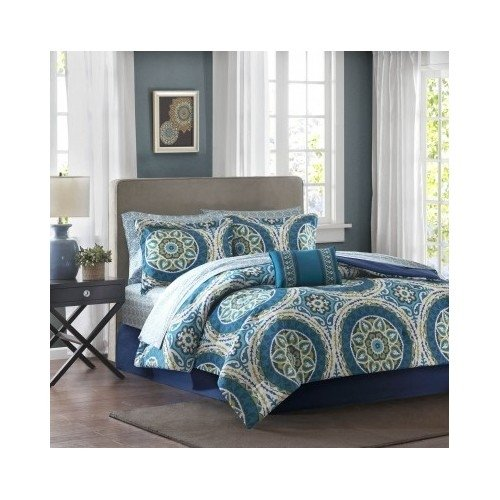Modern Contemporary Bed in a Bag Paisley Blue Bedding Set with a Decorative Pillow (Cal King) Includes Scented Candle Tarts