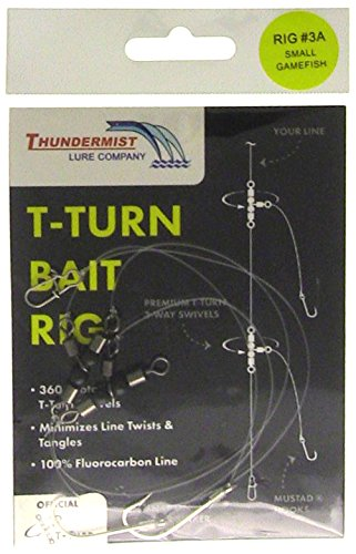 Thundermist Lure Company #3A Saltwater Porgy/Snapper/Croaker/Sea Trout/Tautog/Spot/High-Low Rig T-Turn Bait Rig, Clear