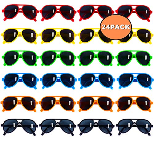 Kids Sunglasses Party Favors, Aviator Sunglasses in Bulk 24 Pack for Kids, Pool Party Favors, Goody Bag Stuffers, Beach Party Toys, Fun Gift for Children Birthday & Graduation Party ()