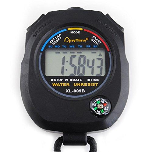 Digital Stoppuhr Multifunktion Tascheuhr Stopp Kompass Kalender Alarm Chronograph #445