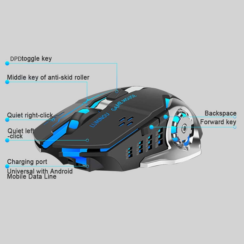 sakd Wireless Mouse Pro Gaming Mice Rechargeable 2.4G Optical 7 Colors Backlight with USB Receiver for Laptop Computer PC Notebook Gamer