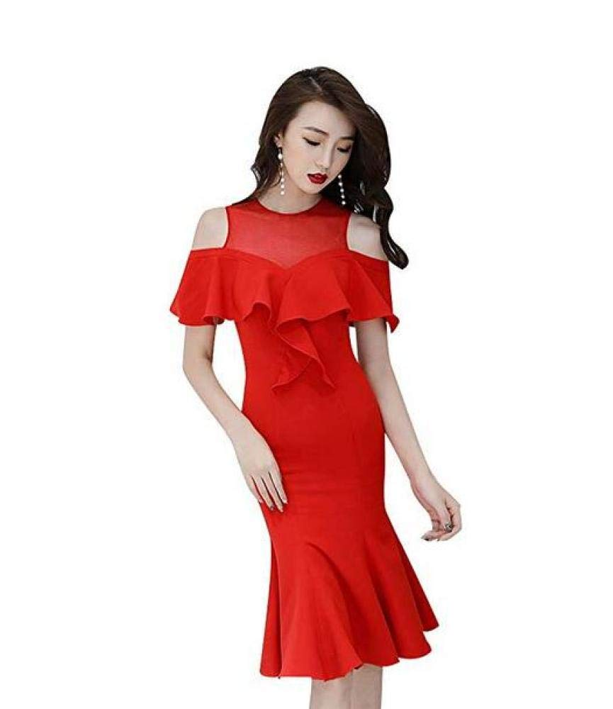 A CTO Wedding Bridesmaid Dress Party Red Short Slim Evening Dress