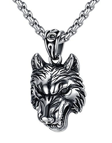 LineAve Men's Stainless Steel Wolf Pendant Necklace, Black, 23 + 2