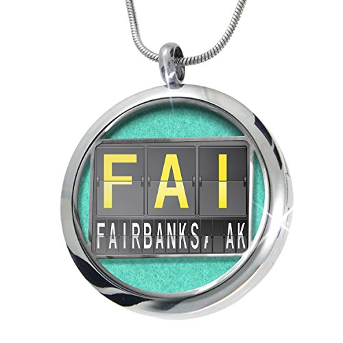NEONBLOND FAI Airport Code for Fairbanks, AK Aromatherapy Essential Oil Diffuser Necklace Locket Pendant Jewelry Set