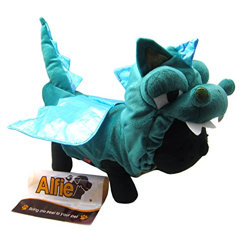 Alfie Pet - Smokie The Dragon Dinosaur Costume - Color: Green, Size: XS -