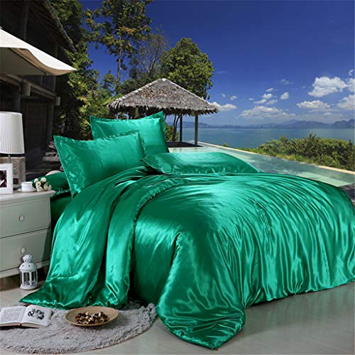 4 Pcs Bedding Set,Satin Charmeuse Sheet Set Suit for Living Room Bedroom Decor,King Soft Silk Feel Simple Plain Luxury Quilt Cover Pillowcase (Green) ()