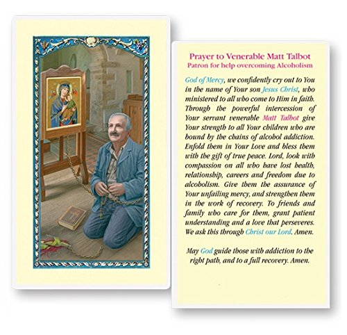 Venerable Matt Talbot Prayer for Overcoming Alcoholism Blessed Laminated Italian Holy card with Gold Accents