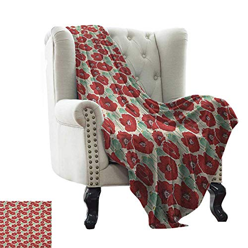 Flannel Fleece Blanket Poppy,Spring Garden Pattern with Red Blossoms Seed Capsules and Little Dots, Mint Green Ruby and Beige Soft Summer Cooling Lightweight Bed Blanket 30