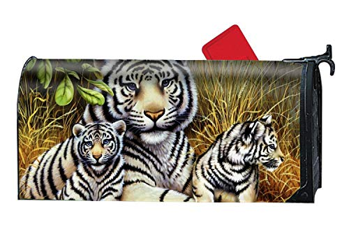 Tigers Family Customized Magnetic Mailbox Cover Home Garden Cute Mailbox Wraps with Full-Surface Magnet On ()