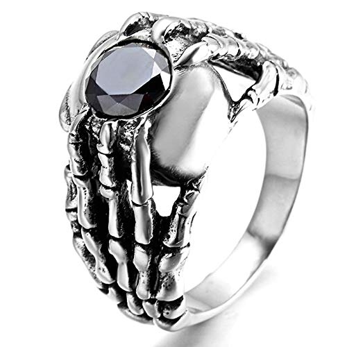Bishilin Stainless Steel Rings Vintage 25MM Skeleton Hand with Black Zirconia Ring Engaget Silver Size 9
