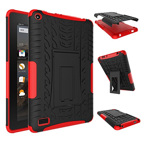 Fire 7 2015 Case, Amazon Fire 7 Case, NOKEA Hybrid Heavy Duty Armor Protection Cover [Anti Slip] [Built-In Kickstand] Skin Case For Amazon Fire 7 5th Generation 2015 Release Tablet (Red)