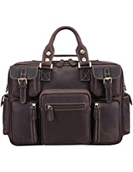 Polare Mens Vintage Thick Cowhide Leather Messenger Shoulder Travel Bag Satchel Briefcase