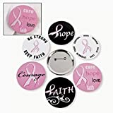 Lot of 24 Breast Cancer Pink Ribbon Metal Buttons Pins