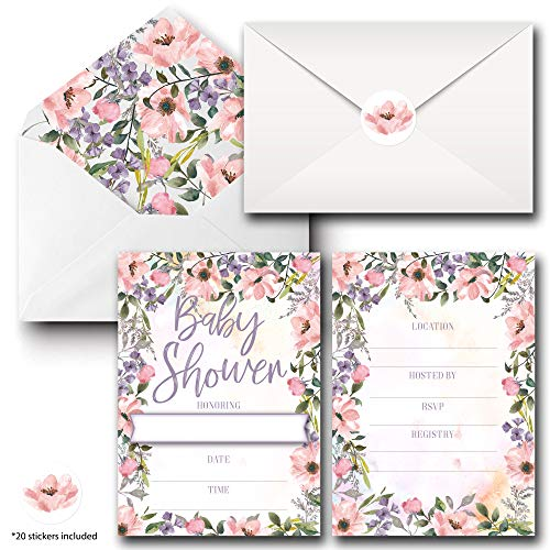 - Baby Shower Invites - 20 Fill-in Floral Invitations Cards with Stickers & Envelopes for Baby Shower 5 x 7 Inches, Postcard Style